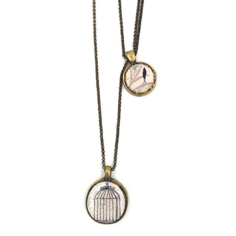 collier asymétrique avec une double chaine